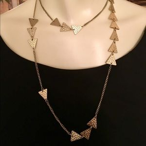Premier Designs Long Gold-Tone Triangles Necklace